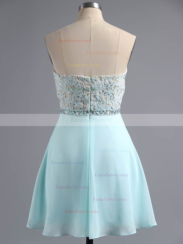 A-line Sweetheart Short/Mini Chiffon Prom Dresses with Appliques Lace Beading #Favs020100883