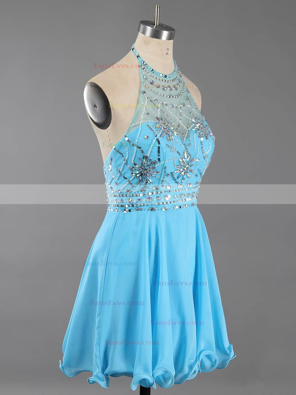 A-line Halter Short/Mini Chiffon Prom Dresses with Beading #Favs020100982