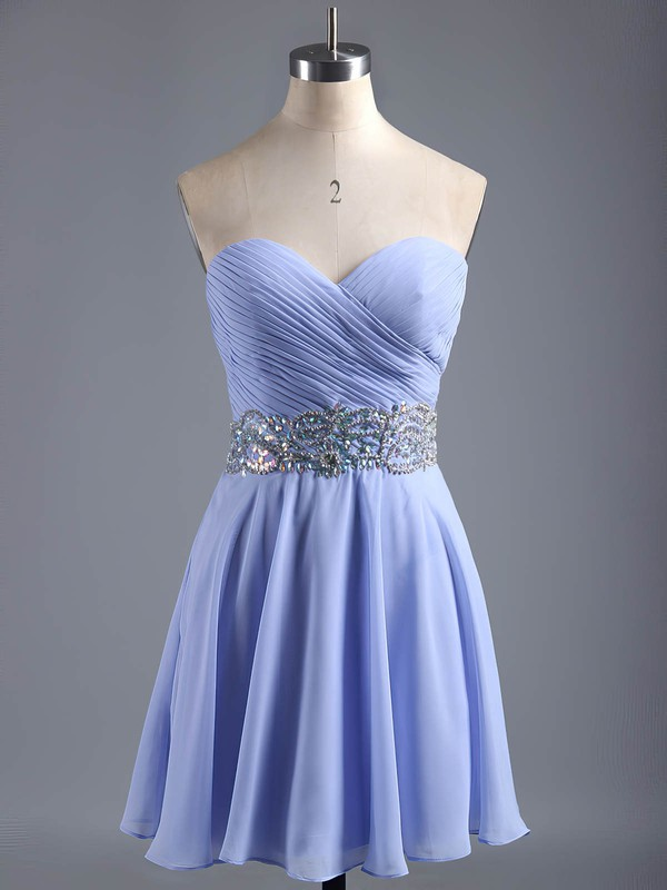 A-line Sweetheart Chiffon Short/Mini Beading Affordable Homecoming Dresses #Favs020101407