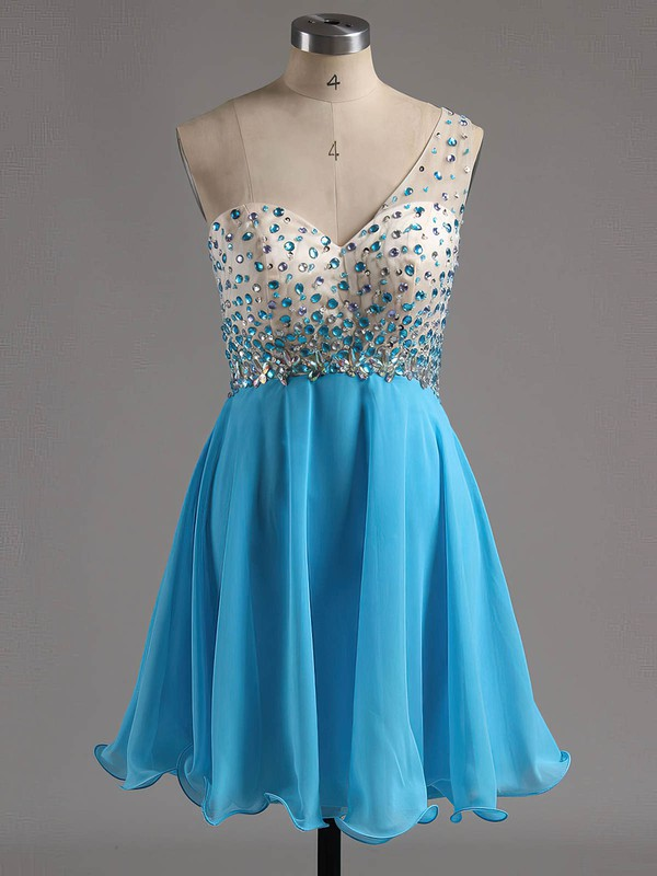 One Shoulder A-line Chiffon Short/Mini Beading Backless Discounted Homecoming Dresses #Favs020101759