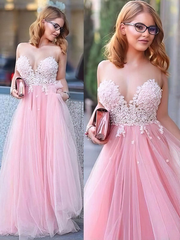 Princess Scoop Neck Tulle Floor-length Appliques Lace Prom Dresses #Favs020104370