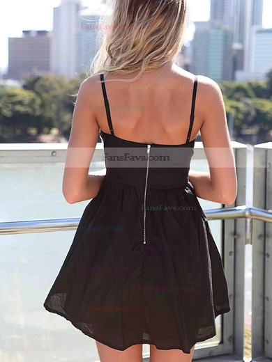Empire Sweetheart Chiffon Short/Mini Pearl Detailing Simple Black Prom Dresses #Favs020102613