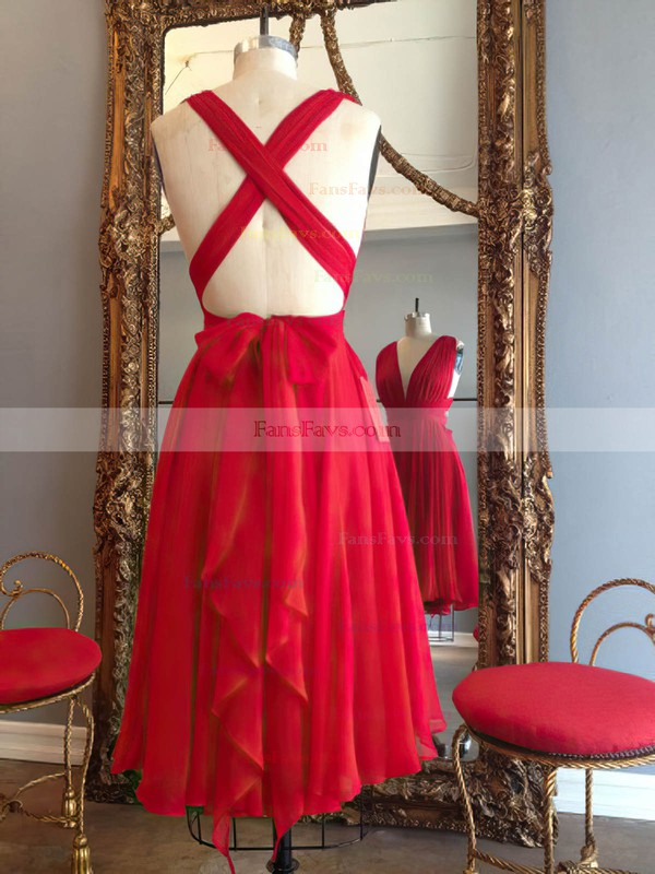 Hot A-line V-neck Chiffon Knee-length Ruffles Red Backless Prom Dresses #Favs020102648