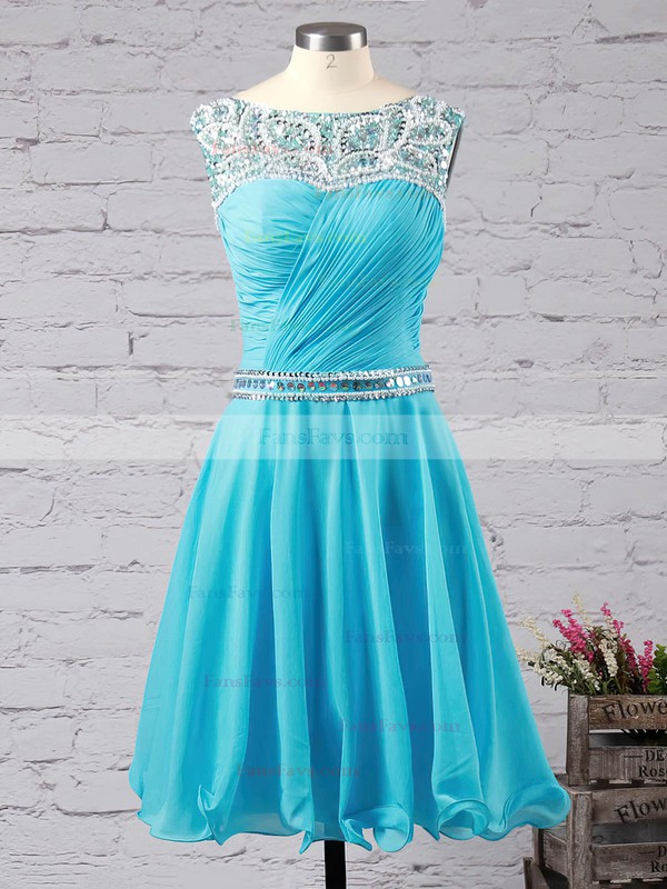 Short/Mini A-line Scoop Neck Chiffon Beading Sweet Prom Dresses #Favs020102720