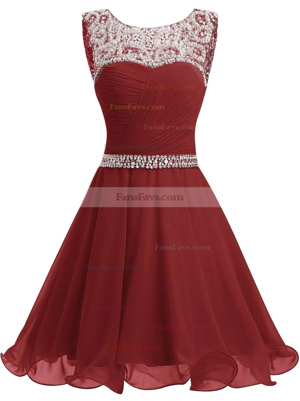 A-line Scoop Neck Short/Mini Chiffon Prom Dresses with Beading Ruffle #Favs020102720
