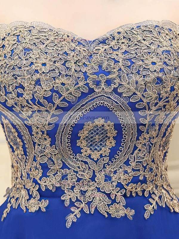 Girls A-line Sweetheart Chiffon Short/Mini Appliques Lace Royal Blue Prom Dresses #Favs020103460