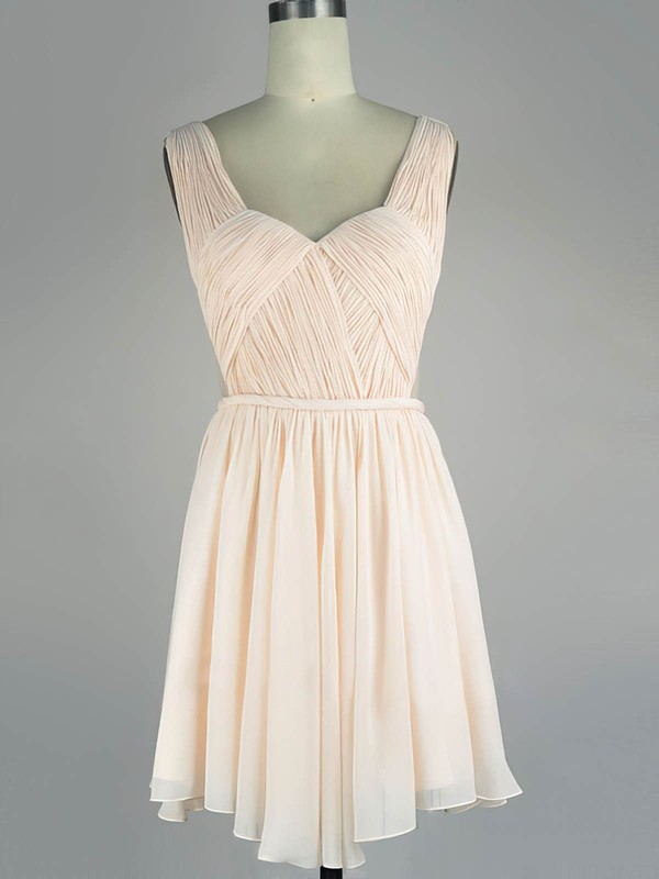 A-line V-neck Chiffon Short/Mini with Sashes / Ribbons Prom Dresses #Favs020104136