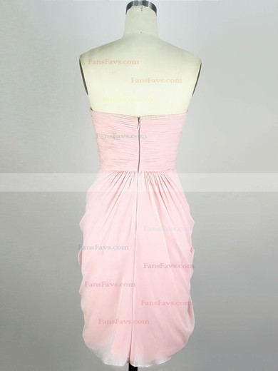 Sheath/Column Sweetheart Chiffon Short/Mini with Pleats Prom Dresses #Favs020104139