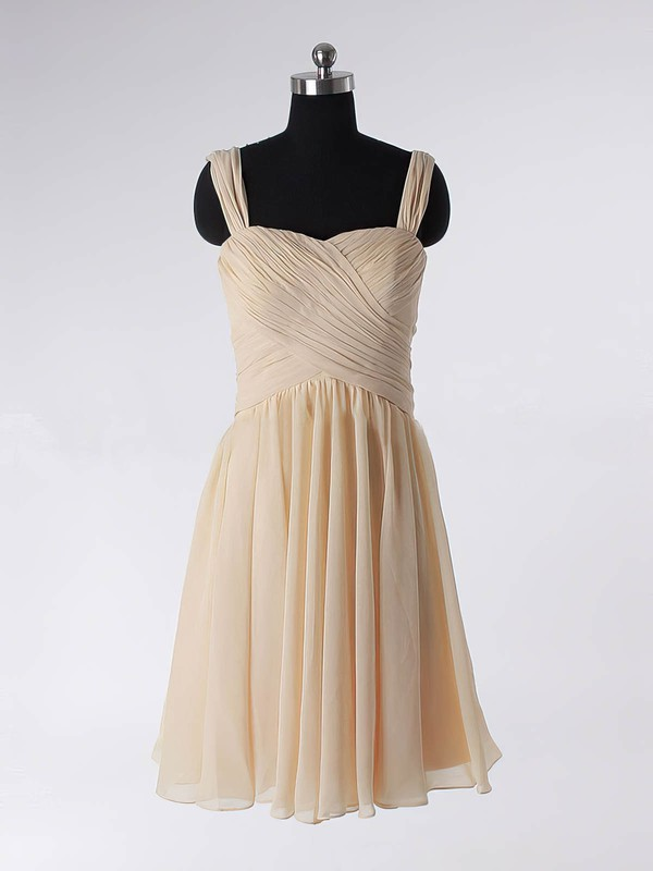 A-line Straps Chiffon Short/Mini Sleeveless Draped Prom Dresses #Favs02013594