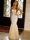Trumpet/Mermaid Sweetheart Tulle Floor-length Beading Prom Dresses #Favs020104415
