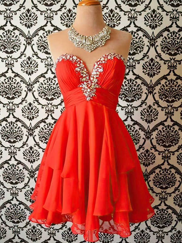 Red Cascading Ruffles Chiffon Crystal Detailing Sweetheart Short/Mini Homecoming Dresses #Favs02019522