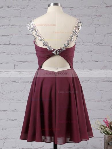 A-line Scoop Neck Chiffon Short/Mini Ruffles Homecoming Dresses #Favs02042461