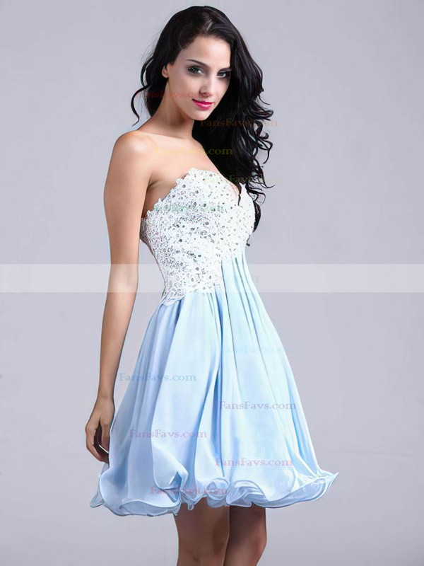 A-line Sweetheart Short/Mini Chiffon Prom Dresses with Appliques Lace #Favs02051689