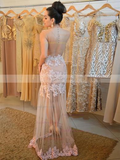 Trumpet/Mermaid Scoop Neck Tulle Floor-length Appliques Lace Prom Dresses #Favs020104424