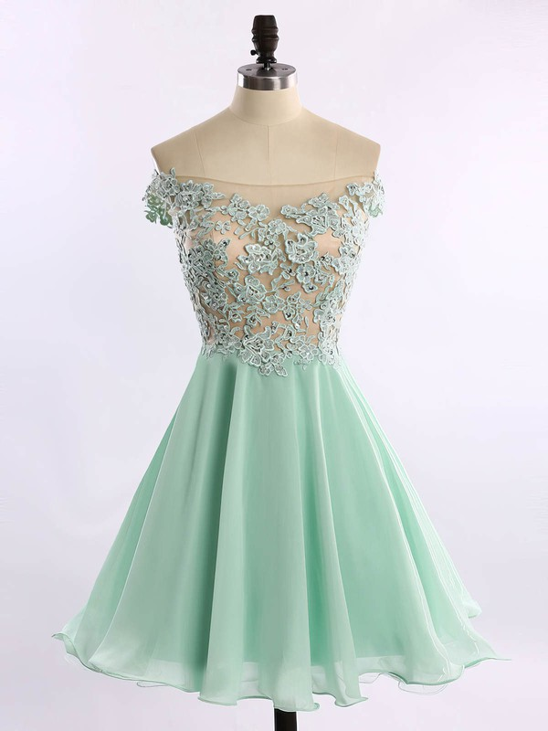 Off-the-shoulder Chiffon Tulle Appliques Lace Short/Mini Prom Dresses #Favs020102178