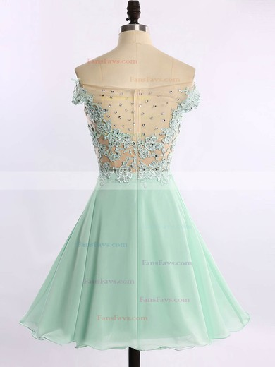 A-line Off-the-shoulder Short/Mini Chiffon Prom Dresses with Appliques Lace Sequins #Favs020102178