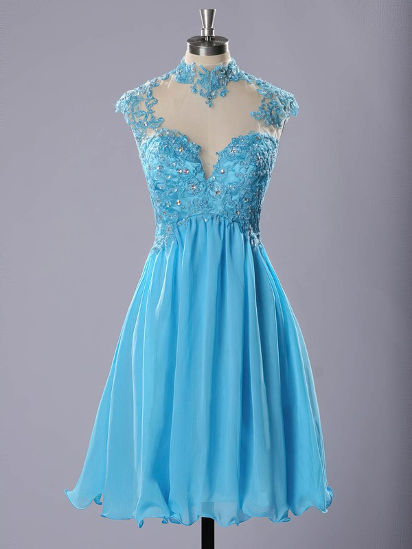 High Neck Blue Chiffon Tulle Appliques Lace Short/Mini Prom Dresses #Favs020102183