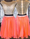Two Piece A-line Scoop Neck Chiffon Tulle Short/Mini Crystal Detailing Homecoming Dresses #Favs020102540