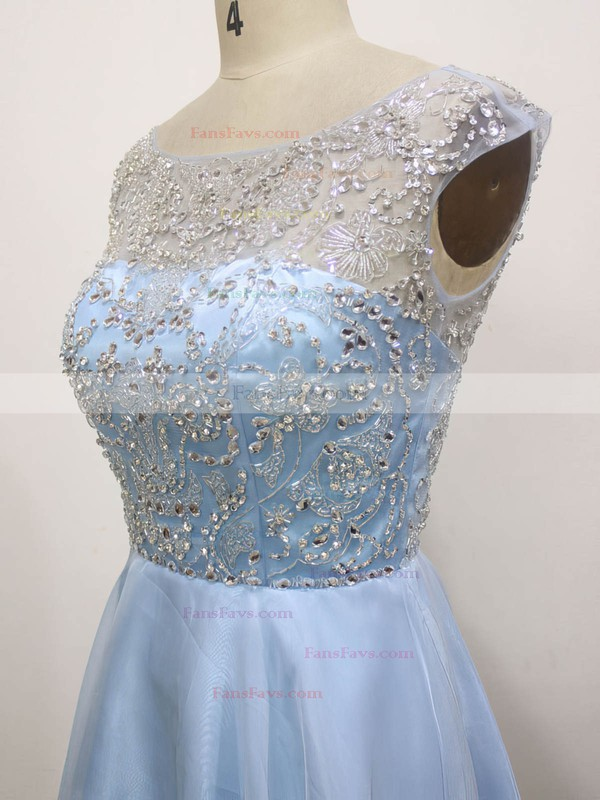 A-line Scoop Neck Chiffon Tulle Short/Mini with Beading Prom Dresses #Favs020104143