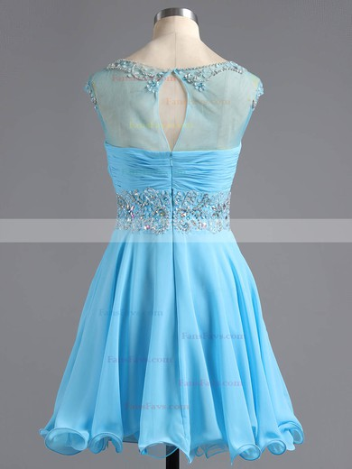A-line Scoop Neck Chiffon Tulle Short/Mini Beading Homecoming Dresses #Favs02016425