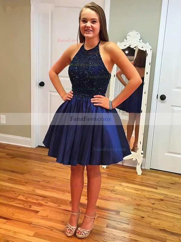A-line Halter Satin Short/Mini Beading Homecoming Dresses #Favs020102526