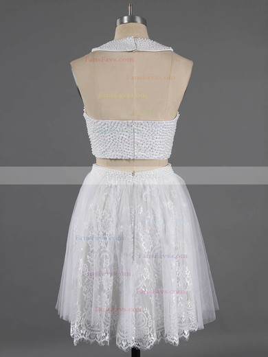 Newest Scoop Neck Two Pieces White Lace Crystal Detailing Short/Mini Homecoming Dresses #Favs020100649