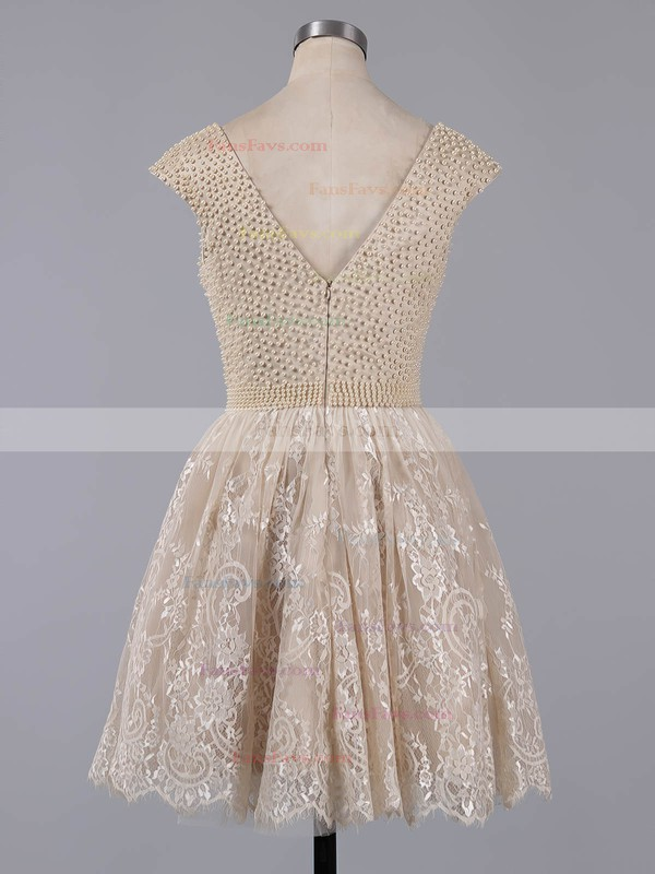 A-line Scoop Neck Lace Pearl Detailing Fabulous Short/Mini Homecoming Dresses #Favs020101436