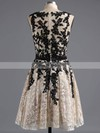 A-line Scoop Neck Lace with Sashes / Ribbons Graceful Short/Mini Homecoming Dresses #Favs020101917