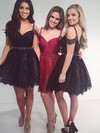 A-line V-neck Short/Mini Lace Prom Dresses with Beading #Favs020102523