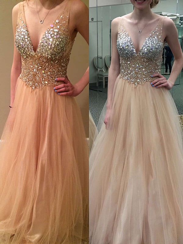 Princess V-neck Floor-length Tulle Prom Dresses #Favs020104498