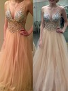 Princess V-neck Tulle Floor-length Crystal Detailing Prom Dresses #Favs020104498