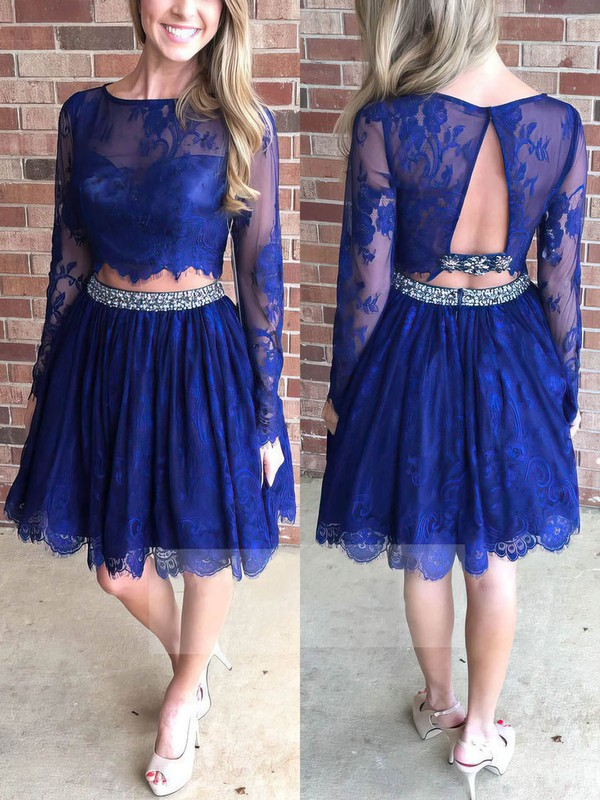 A-line Scoop Neck Knee-length Lace Prom Dresses with Beading Sequins #Favs020102552