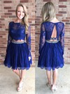 Two Piece A-line Scoop Neck Lace Knee-length Beading Long Sleeve Homecoming Dresses #Favs020102552
