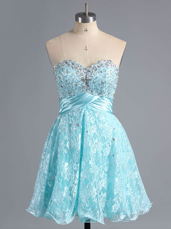 A-line Sweetheart Short/Mini Lace Prom Dresses with Beading #Favs02042339