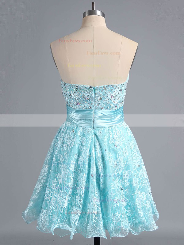 A-line Sweetheart Lace Short/Mini Beading Homecoming Dresses #Favs02042339