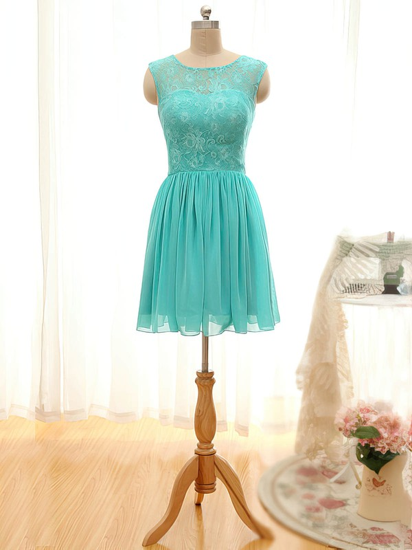 A-line Scoop Neck Short/Mini Lace Chiffon Prom Dresses with Ruffle #Favs020101796