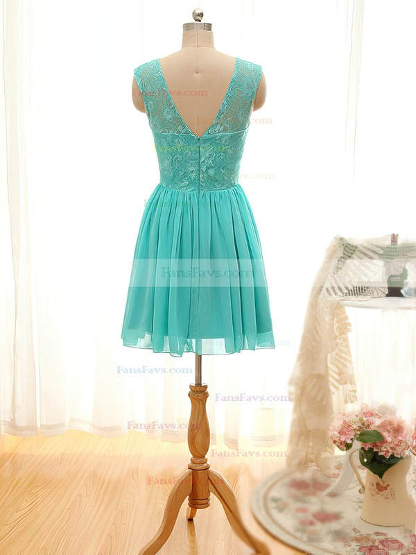 Scoop Neck Lace Chiffon Short/Mini Ruffles Juniors Prom Dresses #Favs020101796
