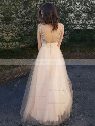 A-line Scoop Neck Floor-length Tulle Prom Dresses with Beading Ruffle #Favs020104502
