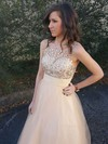 A-line Scoop Neck Tulle Floor-length Beading Prom Dresses #Favs020104502