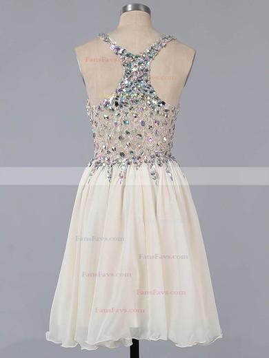A-line V-neck Lace Chiffon Short/Mini Ruffles Homecoming Dresses #Favs02016363