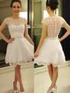 A-line Scoop Neck Short/Mini Lace Chiffon Prom Dresses with Beading Sashes #Favs02019813