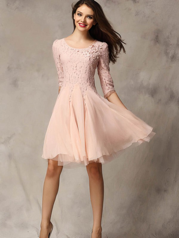A-line Scoop Neck Lace Chiffon Tulle Short/Mini Appliques Lace Prom Dresses #Favs02018178