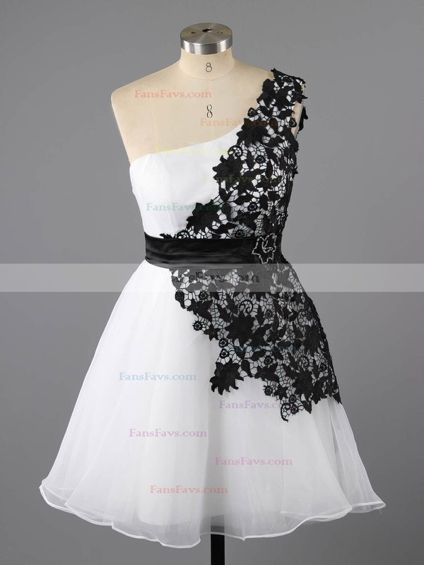 A-line One Shoulder Short/Mini Lace Chiffon Prom Dresses with Appliques Lace Sashes #Favs02042082