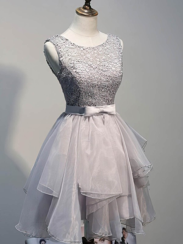 A-line Scoop Neck Lace Organza Short/Mini Sashes / Ribbons 2016 Prom Dresses #Favs020102423