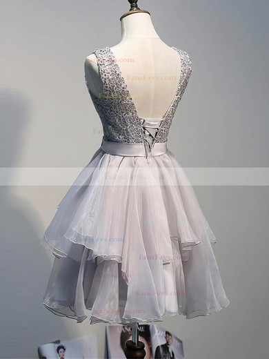 A-line Scoop Neck Short/Mini Lace Organza Prom Dresses with Sashes #Favs020102423