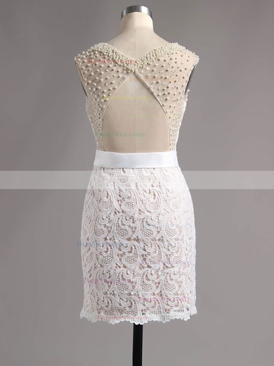 Open Back Sheath/Column Scoop Neck Lace Satin Short/Mini Pearl Detailing Homecoming Dresses #Favs020100669