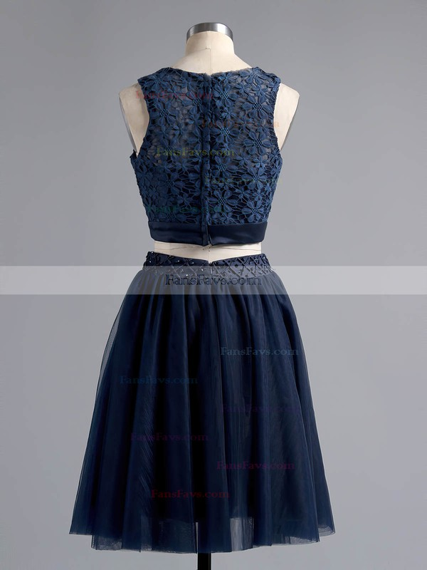Two Piece A-line Scoop Neck Lace Tulle Short/Mini Beading Dark Navy Homecoming Dresses #Favs020101441