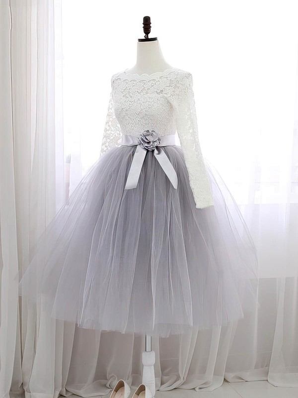 A-line Scalloped Neck Knee-length Lace Tulle Prom Dresses with Sashes #Favs020102849