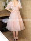 Princess V-neck Tea-length Tulle Prom Dresses with Appliques Lace #Favs020105819