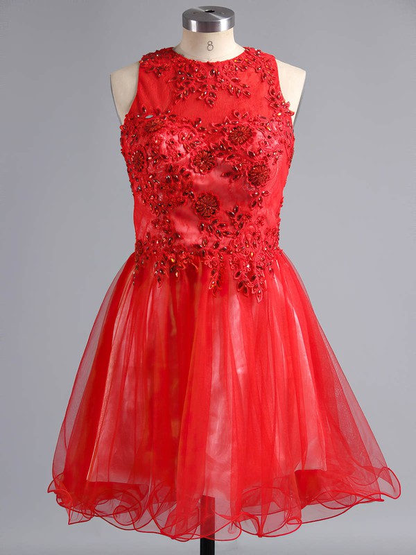 A-line Scoop Neck Short/Mini Tulle Prom Dresses with Appliques Lace Beading #Favs02019171